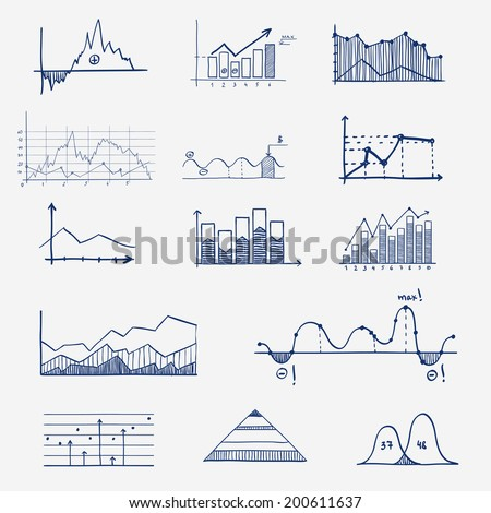 business finance statistics infographics doodle hand drawn elements. Concept - graph, chart, arrows signs - stock vector