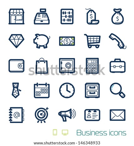 Business & Finances icons set Perfect lines - stock vector