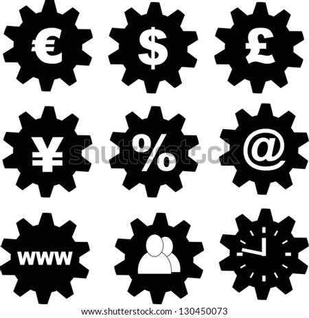 business, financial tools icons (euro, usd, pound,yen, yuan, percent, e-mail, internet, teamwork(hr), time - stock vector