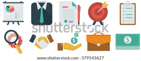 Business flat icons set - stock vector