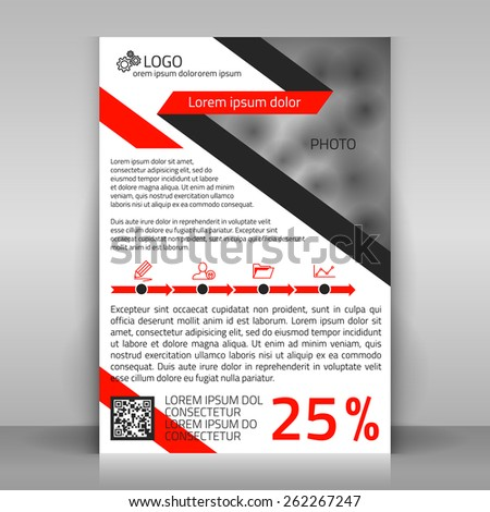 Business flyer design, brochure cover template. Design with infographics timeline made from arrows and icons. Layout with red and gray elements (along the diagonals), contains space for a photo.  - stock vector
