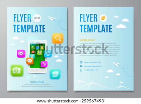 Business flyer template, white smartphone with cloud of icons mobile application. Vector illustration - stock vector