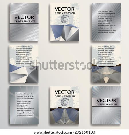 Business Flyer Templates with Metal Effect. Corporate Identity Banner Design. Vector Illustration.  - stock vector