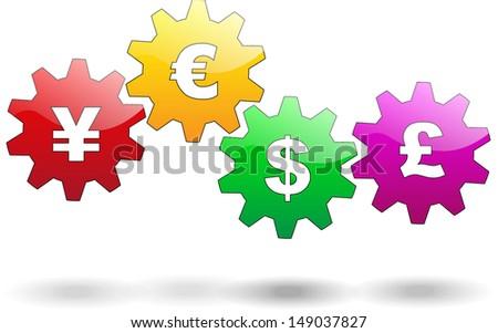 Business gears. Money, financial mechanism. Vector illustration. - stock vector