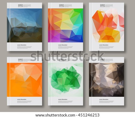 Business geometric design templates. Brochure Multicolored Polygonal Backgrounds. Painting. Wallpaper with empty space for your text. Triangular Decoration set. Abstract Modern Vector Illustration. - stock vector