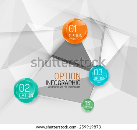 Business geometric option steps infographics. Color glossy shapes - buttons with numbers, letters and icons  - stock vector
