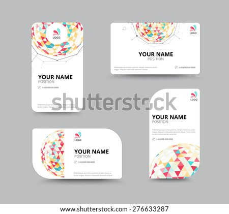 Business geometry low polygon on white background. business card template. vector illustration - stock vector