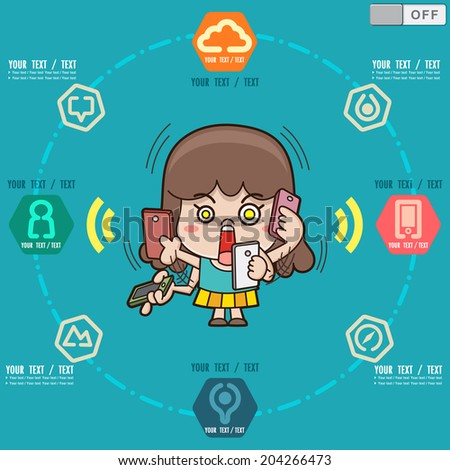 Business girl using smart phone. Around social and media icons, Info graphics  illustrator vector icons - stock vector