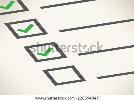 Business goals checklist with green markers, lines and unchecked checkbox. Vector icon. Idea - Business planning, goals, management and company strategy concept. - stock vector