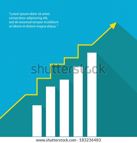 Business graph and chart on blue background. vector illustration - stock vector