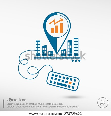 Business graph design element and keyboard. Line icons for application development on city background - stock vector