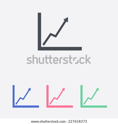 Business graph. Flat icon of graph - stock vector