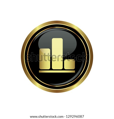 Business graph icon on black with gold button. Vector illustration - stock vector