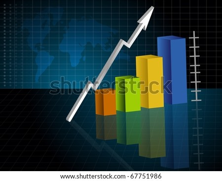 Business Graph in dark background with map. Vector file available. - stock vector