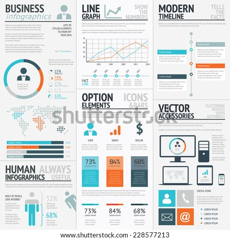 Business graphics data visualization vector element infographics - stock vector