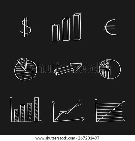 Business graphics hand-drawing set. Vector illustration. - stock vector