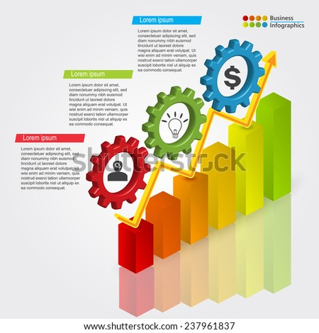 Business Graphs/Charts & Gear, Icon & Text Information Design, Financial and Business Infographic, Workflow/Element Layout Design. Vector Illustration. - stock vector