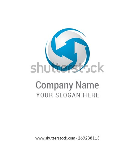 business group of companies circle arrow gray and blue abstract logo. Creative vector logo with circle and swashes. - stock vector