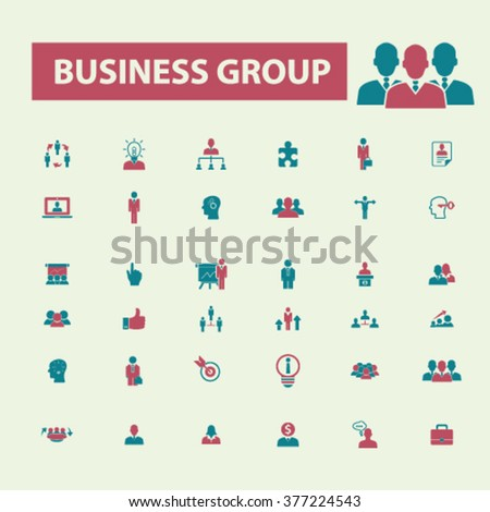 business group, workforce, team, businessman, discussion, job, human resources, leader, community, partnership, member, management, employee, organization, workplace, communication icons - stock vector