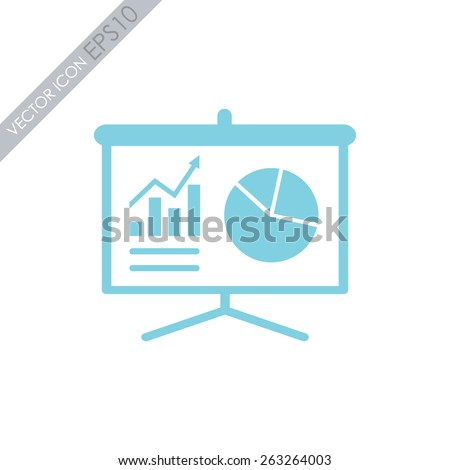 Business growing chart presentation vector icon. - stock vector