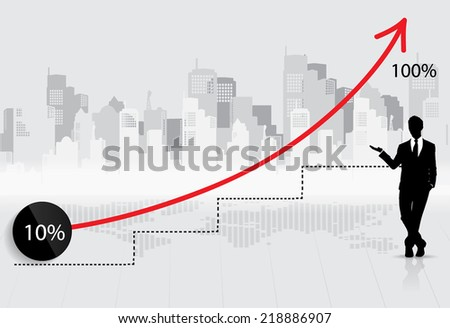 Business growing graph with businessman. Vector illustration. - stock vector