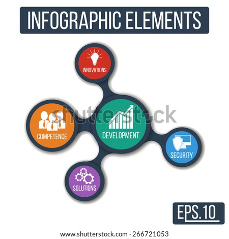Business. Growth abstract background with connected metaball and integrated icons for development, competence, security, solutions, innovations. Vector infographic illustration - stock vector