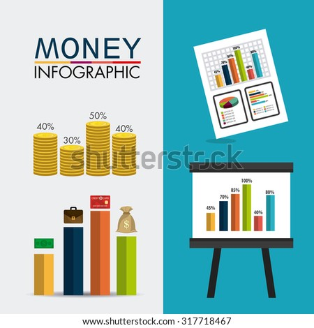 Business growth and money savings infographics design, vector illustration - stock vector