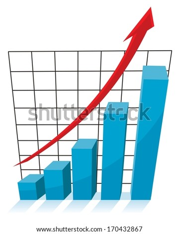 business growth concept, 3d chart graph with red arrow pointing up - stock vector