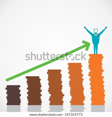 business growth graph and celebrate success stock vector - stock vector