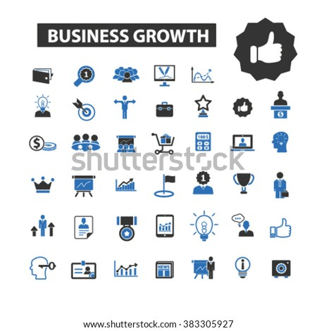 business growth icons - stock vector