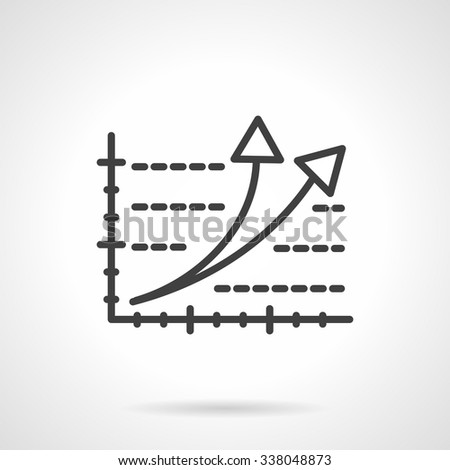 Business growth, rating, success symbol. Chart graph with two arrows pointing up. Black simple line style vector icon. Single web design elements for business, app, website. - stock vector