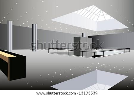business hall interior vector - stock vector