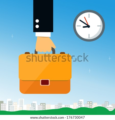Business hand holding briefcase with documents vector illustration - stock vector