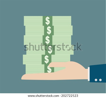 business hand holding stack money - stock vector