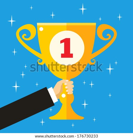 Business hand holding trophy cup for goal achievement vector illustration - stock vector