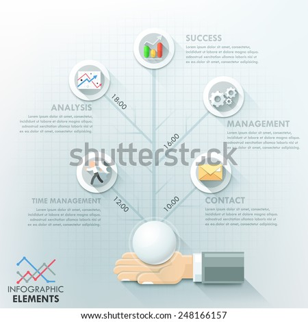 Business hand infographic options template. Vector illustration. Can be used for workflow layout, banner, diagram, number options, step up options, web design, timeline. - stock vector