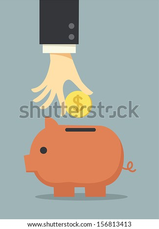 business hand saving money in piggy bank - stock vector