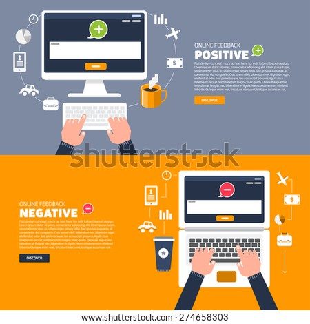 Business hand text to keyboard computer. Vector illustration of positive and negative feedback concept. Minimal and flat design - stock vector