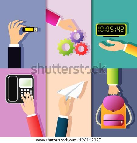 Business hands gestures design elements of holding memory stick cog wheel digital clock isolated vector illustration - stock vector