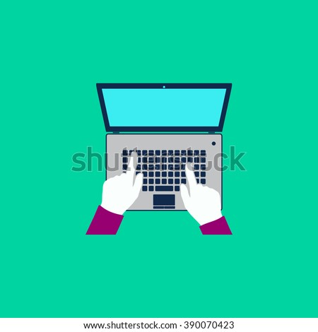 Business hands on notebook computer keyboard with open screen. Flat simple modern illustration pictogram. Collection concept icon for infographic project and logo - stock vector