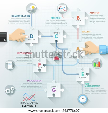 Business hands teamwork infographics template with paper puzzle elements. Vector illustration. Can be used for workflow layout, banner, diagram, number options, step up options, web design, timeline. - stock vector