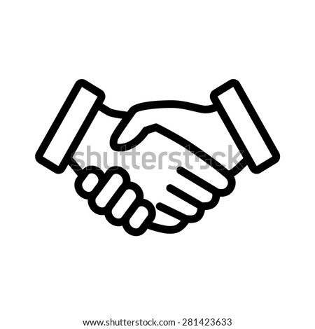 Business handshake / contract agreement line art icon for apps and websites - stock vector