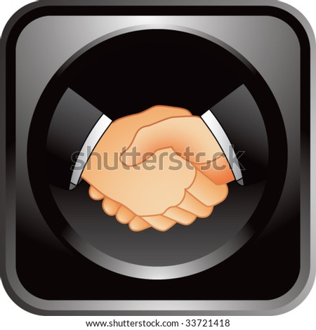 business handshake on glossy web button - stock vector