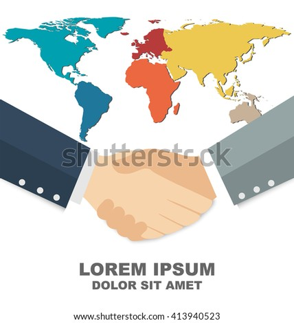 Business handshake With World Map in Background, Credit Map By Nasa - stock vector