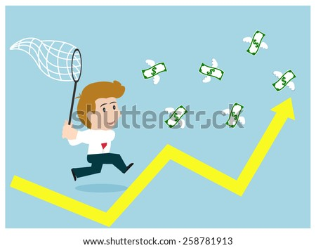 Business happy hunting money finance on graph. - stock vector