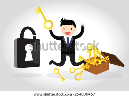 Business happy to be able to unlock with a key. - stock vector