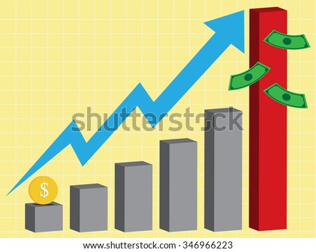 business high growth chart, vector - stock vector