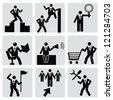 Business human resource,icon set,Vector - stock vector