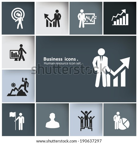 Business & Human resource icon set,vector - stock vector