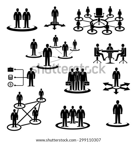 Business,Human resource,icons,Vector. Businessman Workforce Teamwork Company Cooperation  - stock vector